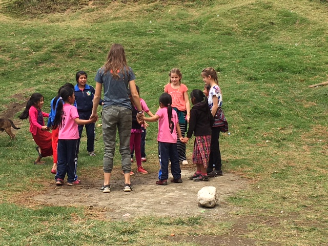 Guatemala girls in circle --